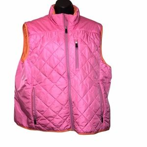 Lands End HOT PINK Quilted Vest~XL